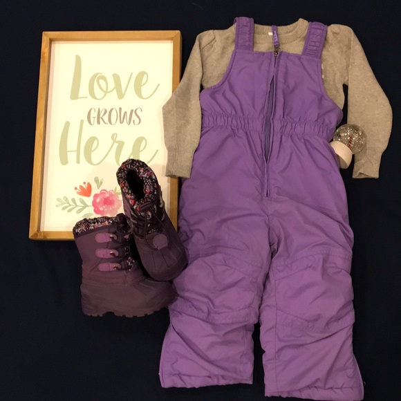 Ll Bean Girls Insulated Ski Bibs Pants Snow Lavender Purple Size 4t Outerwear